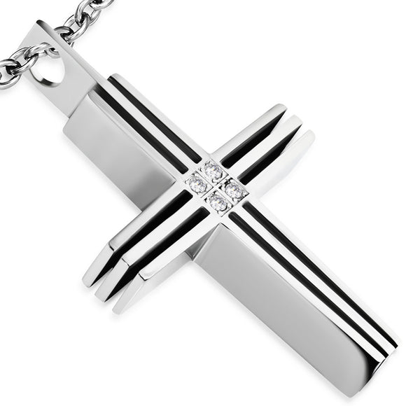 Stainless Steel 2-tone Semi Pave-Set Cross Pendant w/ Clear CZ - PCR038