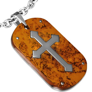 Stainless Steel 2-tone Medieval Cross Tag Pendant w/ Wood - PCR502