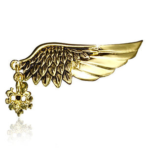 Fashion Alloy Guardian Angel Wing Feather Fleur De Lis Cross Flower Charm Pin Brooch w/ Black CZ - PIN398