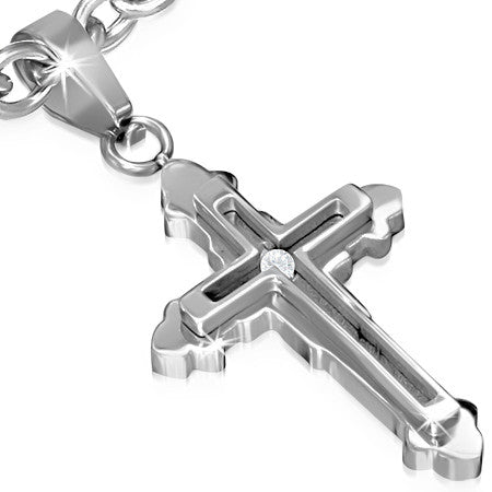 Stainless Steel Latin & Fleur De Lis Double Cross Pendant w/ Clear CZ - PLY1029