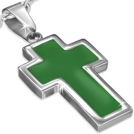Stainless Steel Green Enameled Latin Cross Charm Pendant - PLY1044