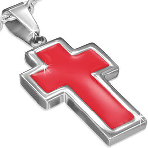 Stainless Steel Red Enameled Latin Cross Charm Pendant - PLY1045