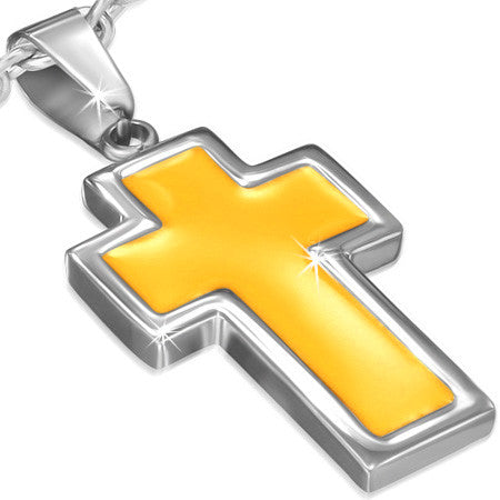 Stainless Steel Yellow Enameled Latin Cross Charm Pendant - PLY1047