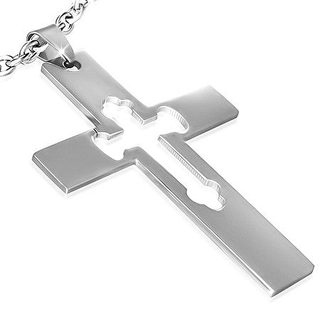 Stainless Steel Cut-out Fleur De Lis Cross Pendant - PLY602