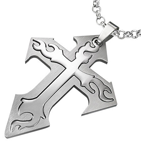 Stainless Steel 2-Part Cut-out Tribal Cross Pendant - TPB132