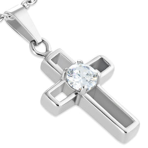 Stainless Steel Prong-Set Latin Cross Pendant w/ Clear CZ - UPM015
