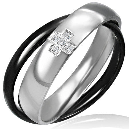 Stainless Steel 2-tone Interlocking Criss-Cross Comfort Fit Band Ring w/ Clear CZ - VRR036