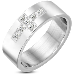 8mm | Stainless Steel Latin Cross Flat Band Ring w/ Clear CZ - VRR371