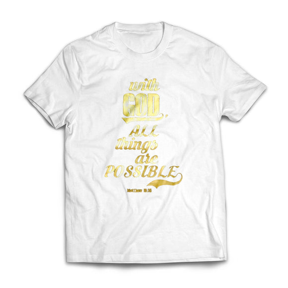 With God, All Things are Possible - Gold on White T-shirt for Kids