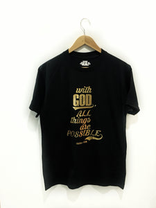 With God, All Things are Possible - Gold on Black T-shirt for Kids