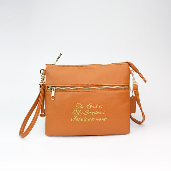tHe Super Blessed Brown Sling Clutch Bag - The Lord is my Shepherd