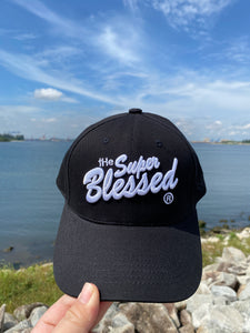 The Super Blessed Classic logo white on Black Cap