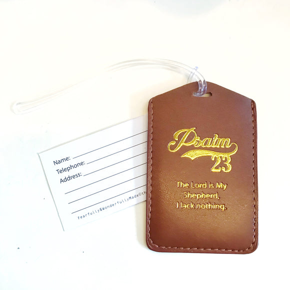 Brown Luggage/ bag Tag - Psalm 23 The Lord is My Shepherd
