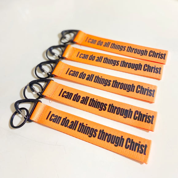 I can do all things through Christ Orange Wrist strap keychain