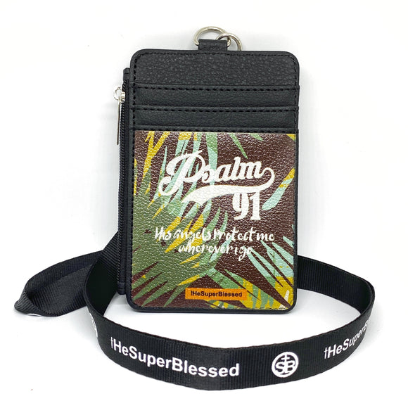Psalm 91 Foliage Black Zipped Cardholder Coin Pouch lanyard set