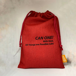 CAN ONE! With God, All things are Possible lah! Drawstring Pouch