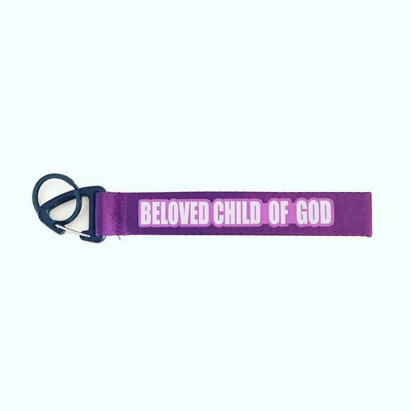 """Beloved Child of God"" Purple Wrist strap keychain"