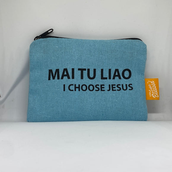 "Canvas coin pouch 13x9cm MAI TU LIAO I Choose Jesus (""I'm a Singaporean Christian Lah!"" series)"