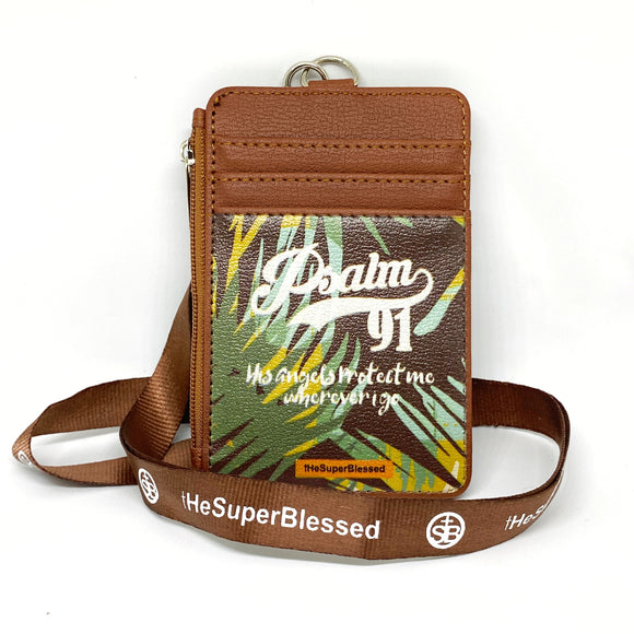 Psalm 91 Foliage Brown Zipped Cardholder Coin Pouch lanyard set