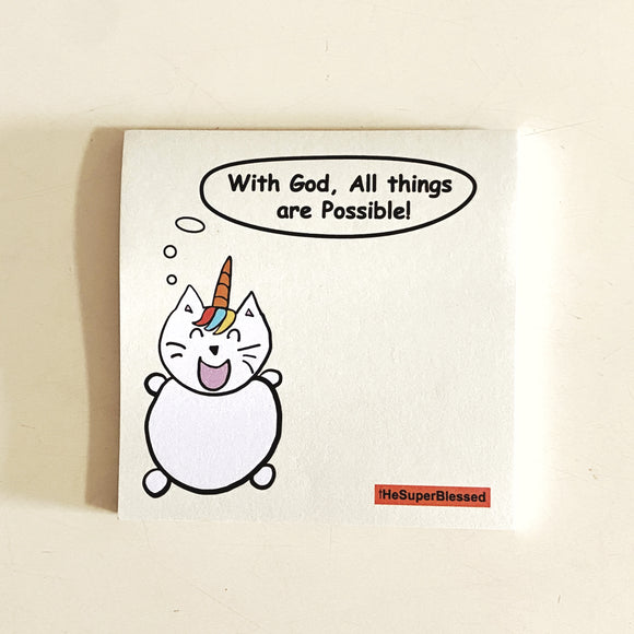 Cute Sticky Notes- UniMaoMao With God, All things are Possible! (yellow)