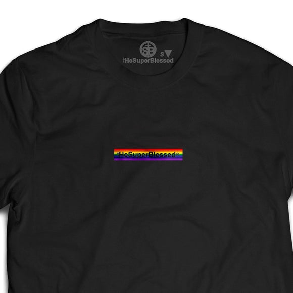 tHeSuperBlessed logo Rainbow black unisex Tshirt