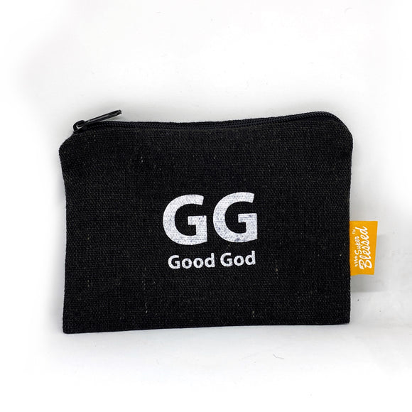 "Canvas coin pouch 13x9cm GG Good God (""I'm a Singaporean Christian Lah!"" series)"