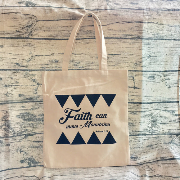 Tote Bag Beige color - Faith can move mountains