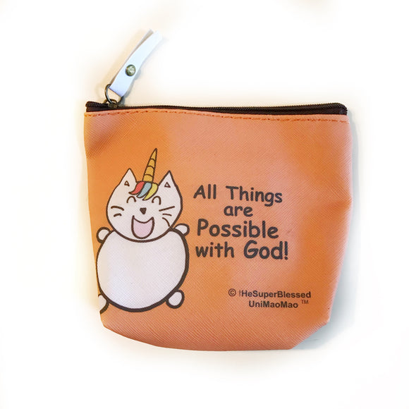 With God All things are possible UniMaoMao PU coin pouch