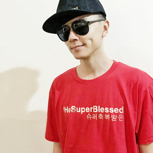 tHeSuperBlessed Tshirt Silver - Red Tshirt for Him