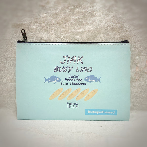 "Jiak Buey Liao Zipped Pouch/ Pencil Case - ""I'm a Singaporean Christian Lah!"" series"