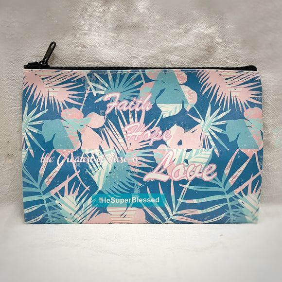 Faith Hope Love Flora Zipped Pouch/ Pencil Case