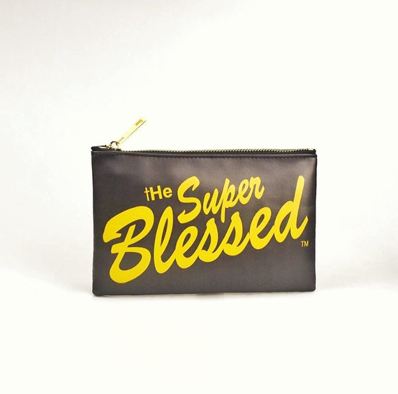 The Super Blessed Dark Brown PU Pouch / Pencil Case
