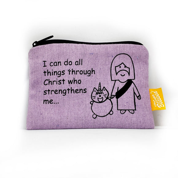 Canvas coin pouch 13x9cm UniMaoMao I can do all things through Christ