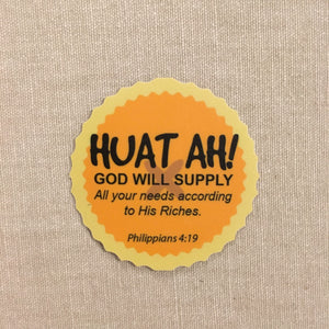 "Sticker ""I'm A Singaporean Christian"" HUAT AH (54x54mm)"