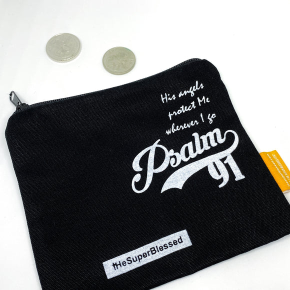 Psalm 91 black Coin pouch 11x13cm