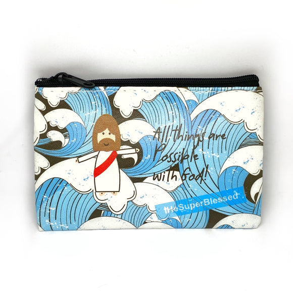Blue Waves Coin Pouch - All Things are Possible with God!