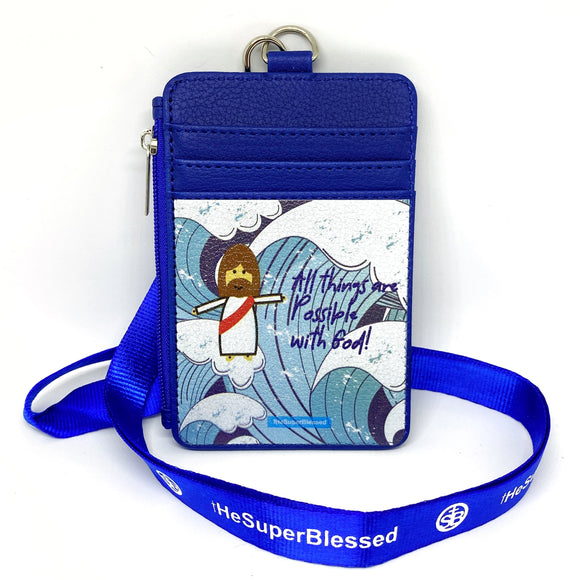 All Things are Possible with God Blue Waves Navy Zipped Cardholder Coin Pouch lanyard set