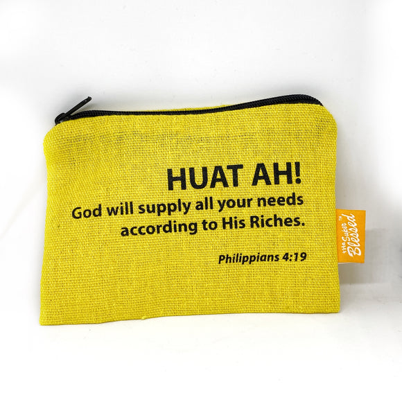 "Canvas coin pouch 13x9cm Huat ah (""I'm a Singaporean Christian Lah!"" series)"