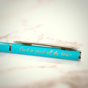 Verse Pen 690 Cyan God is Good All the Time