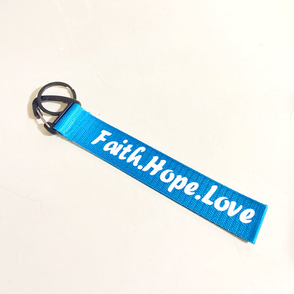 Faith Hope Love Light Blue color Wrist strap keychain
