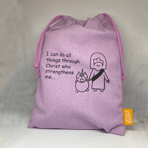 UniMaoMao I can do all things through Christ Drawstring Pouch
