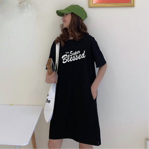 The Super Blessed Black Tshirt Dress