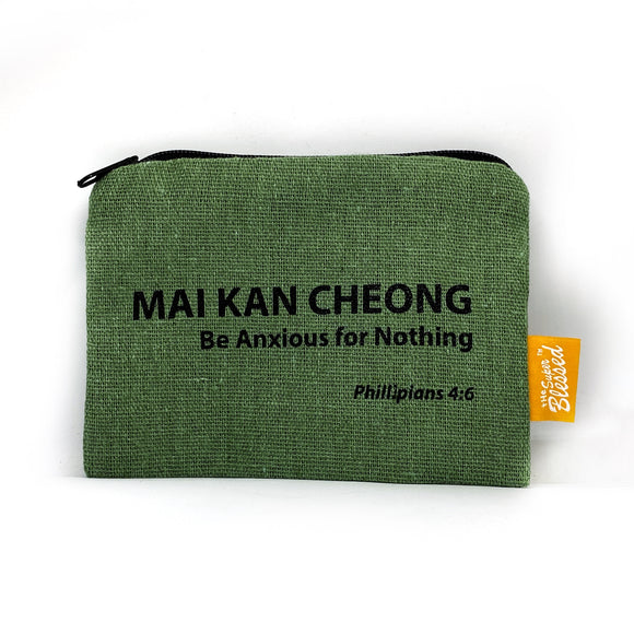 "Canvas coin pouch 13x9cm Mai Kan Cheong (""I'm a Singaporean Christian Lah!"" series)"