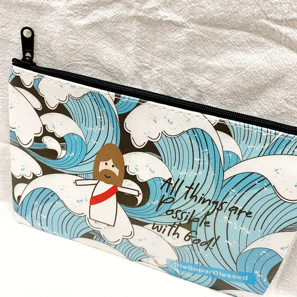 All Things are Possible with God! Blue Waves Zipped Pouch / Pencil Case