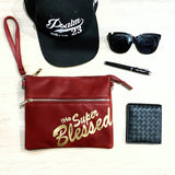 tHe Super Blessed Dark Red Sling Clutch Bag
