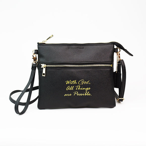 tHe Super Blessed Black Sling Clutch Bag - With God, All Things are Possible