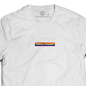 tHeSuperBlessed logo Rainbow white unisex Tshirt