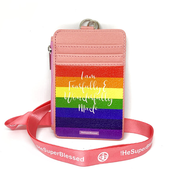 I am FearFully & Wonderfully Made Rainbow Pink Zipped Cardholder Coin Pouch lanyard set