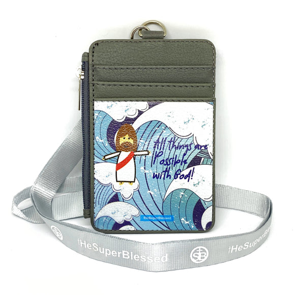 All Things are Possible with God Blue Waves Grey Zipped Cardholder Coin Pouch lanyard set