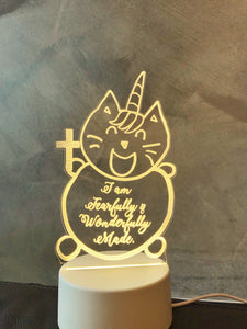 I am Fearfully & Wonderfully Made UniMaoMao Acrylic night lamp